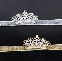 artificial bamboo sticks - Baby Infant Luxury Shine diamond Crown Headbands girl Wedding Hair bands Children Hair Accessories Christmas boutique party supplies kids