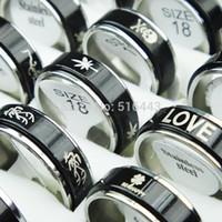 al por mayor anillo doble para mujer-Venta al por mayor caliente de la joyería de los anillos a granel de los hombres del acero inoxidable del negro 316L de la vuelta de la capa 30pcs de la manera caliente de la venta al por mayor A-361