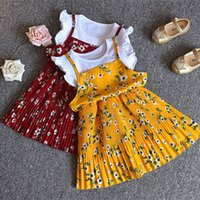 achat en gros de robe princesse-New Arrival 2017 Enfant Girl Princess Sling Robe de fleurs Filles filles enfants Belle robe Kids Girl Fashion Print Dresses 5 Pcs / lot B
