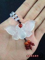 achat en gros de certificat de papillon-Perles de pâte de jade blanc naturel pull collier pendentif pendentif agate jade jade papillon accessoires envoyer un certificat