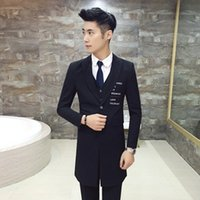Wholesale 2016 Slim Korean Suit Male Host Will Dress The Hair Stylist In The Long Section Of The Suit Suit Three Piece