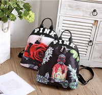 Wholesale 2017 New PINK Vintage Floral Women Canvas Backpacks Pink Flower Rose Children School bags for Girls Casual Travel Bags Fresh TOP1590