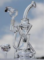 Wholesale No Hybrid Recyclers bongs two function quot recycler glass bong water pipe with quartz honey bucket or glass bowl New bong