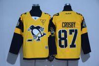 Wholesale Men s Pittsburgh Penguins Sidney Crosby Evgeni Malkin Yellow Stadium Series Premier Hockey Jerseys Drop Shipping Mix Order