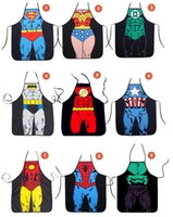 Wholesale Free superhero apron superman batman Kitchen aprons spiderman flash hulk apron Funny Cooking Cartoon Aprons party gifts DH100034