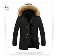Wholesale Men s coat jacket and long sections autumn newest models plus velvet thick cold Slim with hat