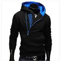 Wholesale Hot Men s Hooded Sweater Side Zippered Fashion Sweater Hooded Black Red Blue Black Men s Sweater WH12