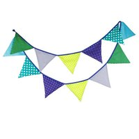 Wholesale Flags m Blue Dot Cotton Fabric Bunting Pennant Flag For Baby Shower Birthday Party Wedding Decoration Supplies Home Decor