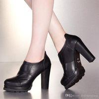 basic shoe design - Black Red Basic Pump Dressed Woman Rubber Sole Soft Leather Square Heel New Design Plain Decoration
