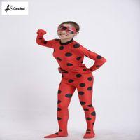 Wholesale Kids Zip The Miraculous Ladybug Cosplay Costume Halloween Girls Ladybug Marinette Child Lady Bug Spandex Full Lycra Zentai Suit and wigs