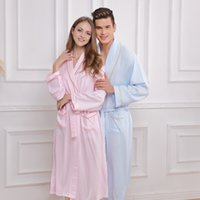 bamboo nightgowns - Bamboo fiber bathrobe women sleepwear nightgown for lovers medium long soft robe plus size spring summer autumn