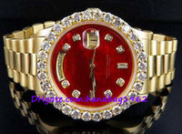 Wholesale high quality luxury brand watches K Mens Yellow Gold President MM Red Dialt Diamond Watch