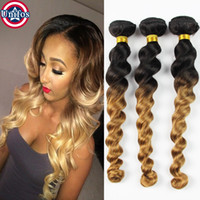 al por mayor extensiones rubias del pelo de la onda floja-Unifos Miel Blonde Ombre Cabello brasileño Loose Wave 3 Bundles Ombre Extensiones de Cabello Brazilian Loose Wave Ombre Blonde Cabello Humano Weave 1B 27
