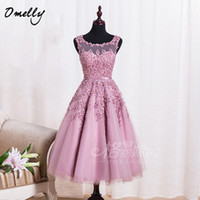 Wholesale Vintage Sleeveless Lace Appliques Tea Length Tulle Ball Gown A Line Beading Prom Evening Dresses New Arrival