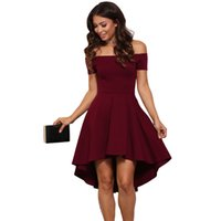 Wholesale 2016 Autumn Dress Women Solid Color Package Hip Sexy Dress Burgundy All The Rage Skater Dress