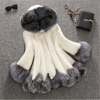 achat en gros de manteau d'hiver le blanc des femmes-2017 3XL faux manteau de fourrure manteau femmes blanc gris avec fourrure chapeau fourrure veste hiver femme femmes haut-parleur manteau femme manteau