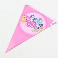 Wholesale Kids Girls Birthday Flag Decoration My Little Pony Happy Birthday Party Pennant Bunting Paper Banner Baby Shower Favors Set
