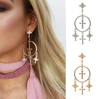 Wholesale European and American fashion jewelry European version of a retro wind carved Cross Earring alloy earrings