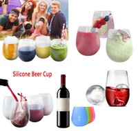 Wholesale Silicone Beer Cups Foldable Silicone Wine Glasses Unbreakable Collapsible Stemless Whiskey Drinkware for Camping