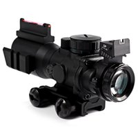 Wholesale X Compact Rifle Scope Red Green Dot Fiber Sight For MM Rail With Red Fiber Optics Sight Etched Glass Black Hunting Sight