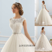 Wholesale Princess Vintage Wedding Dress Lace Backless Wedding Gowns Ball Gown Bride Dresses Crystal Belt Vestidos de Noivas