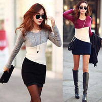 Wholesale Women Winter Casual Long Sleeve Knitted Jumper Sweater Tops Pullover Dress Tops