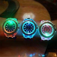 Fashion battery glow lights - LED Light Glow Geneva Watches diamond crystal stone Led Light watch unisex silicone jelly candy flash up Wristwatches Sports Watches