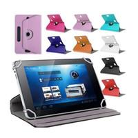 2017 Fundas universales para mini iPad Tablet 360 grados de rotación 10 PU cubierta de cuero de pie 7 8 9 pulgadas Doblar Flip Covers incorporado en la tarjeta de la hebilla
