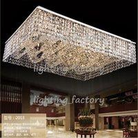 Montaje en el techo accesorios de iluminación España-Nuevo montaje empotrado luz de la sala de luz rectangular lámparas de techo de araña de cristal, lámpara moderna gran luz moderna del vestíbulo del hotel