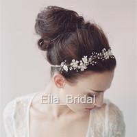 beaded hair ties - Elegant Hairband Hot Pearl Crystal Hand Beaded Floral Wedding Bridal Hair Accessories Headwear Headbands with Ribbon Tie Backs