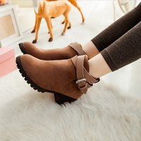 Grossiste-2016 Grande Taille 34-43 Femmes Mode Bottes Sexy ceinture sangles Boucle Automne Femme Chaussures Chunky Talons Chaussures Plate-forme Hiver Avec Fourrure