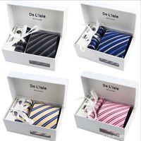 al por mayor gift set for men-2017 cuello corbata conjunto corbata Cuadrados de bolsillo cuadrados hombres corbatas poliéster Paisley corbata 36 estilo Cajas de regalo se envasan individualmente