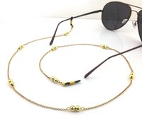Wholesale GL072 pc cheap custom eyewear jewelry simple silver and gold beads sunglass chains strap