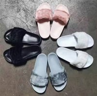 Wholesale With Shoes Boxes Indoor RIHANNA LEADCAT FENTY Women Slippers Rihanna Leadcat Fenty Faux Fur Slides Sandals Unisex Fenty Shoes