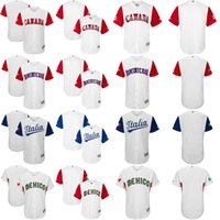 Wholesale Custom any name and number Men s Canada Dominican Italy Mexico Baseball World Baseball Classic Authentic Team Jersey stitched