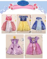 belle costumes - Kids Baby Sleeping Beauty Rapunzel Snow White Cinderella Belle Frozen Princess Children Party Costume Dress Girls Tutu Ball Gown Z571