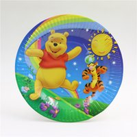 Wholesale Birthday paper plates cake paper plates winnie the pooh and inches