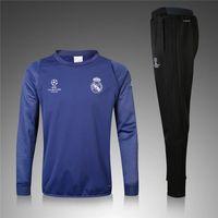 Wholesale Men football jerseys sportswear Champions League Reals Madrid Long sleeve Soccer training suit Munich blue foot shirts ET