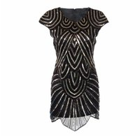 bandage dresses uk - New black gatsby round neck s vintage flapper charleston beading and gold sequin party embroidery dress UK
