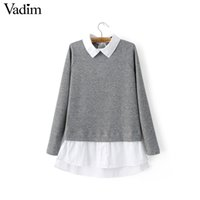 Wholesale Women knitted warm sweaters turn down collar long sleeve pullover contrast color female autumn casual streetwear tops SW1115