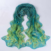 Wholesale Peacock Printing Scarf Women Girl Shawl Chiffon Scarves Cape Silk Black Flowers Chiffon Fashion Scarves Wraps
