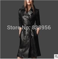 Wholesale 2016 Spring Winter Fashion Women Luxury Black Pu Leather Trench Super Slim Double Breasted Turn Down Collar Coat Female S XXXL