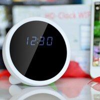 Wholesale Mini Hidden Spy Wifi Clock Camera P2P Wireless Alarm Clock Camcorder HD P Degree Clock Camera Recorder VC486