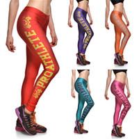 Cheap New Fashion Women Leggings Fish Scale Sport Gym Fitness Pants Gradient Color ladies Sports Leggings Sexy pants B1087