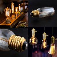 Wholesale E27 Base W V Retro Vintage Antique Edison Industrial Light Home Lamp Vertical Filament Bulb T45Column