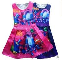 al por mayor trajes de princesa para las niñas adolescentes-Vestidos Trolls Poppy Niñas Princesa Princesa Ropa sin mangas 6 Trajes de diseño Vestidos de fiesta Adolescentes Niñas Ropa Vestidos