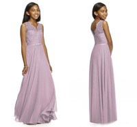 Wholesale 2017 Lilac Junior Bridesmaid Dresses V Neck Sleeveless A Line Floor Length Long Lace And Chiffon With Belt Cheap Bridesmaid Dresses