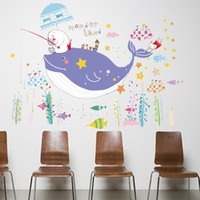 Wholesale PVC Creative Sticker Dolphin Underwater World Pattern Wall Stickers Kids Room Bedroom Kindergarten Bathroom Wall Stickers