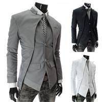 Nouveau style britannique Slim Hommes Costumes Hommes élégant Design Blazer Vêtements Formes Casual Business Mode Veste Noir Gris Blanc Livraison gratuite