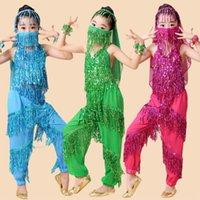 Cheap 4pcs 1set Child Kids Girl Belly Dance Costumes Tribal Indian Dance Girls Performance Dancewear Egypt Children Belly Dance Costume Dress